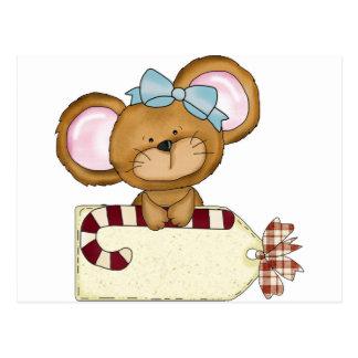 Christmas girl Mouse Postcard