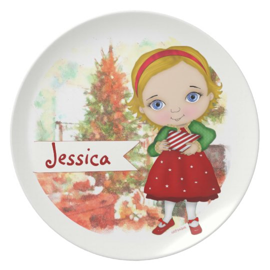 Christmas Girl Plate