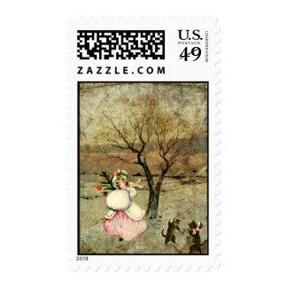 Christmas Girl Postage Stamps