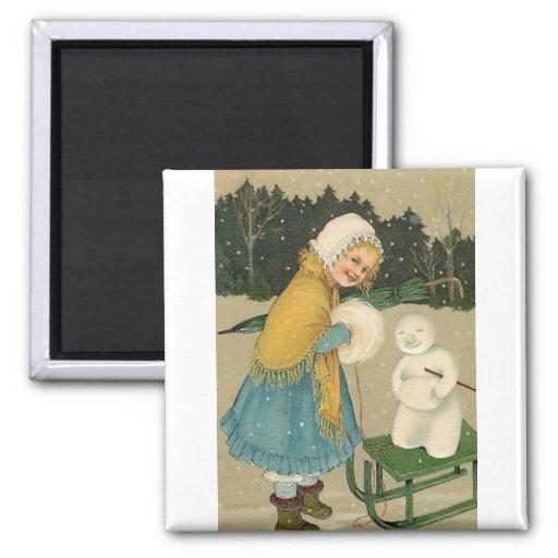 Christmas Girl & Snowman Vintage Art Magnets