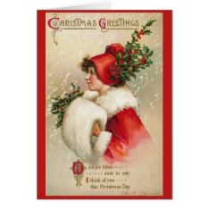 Christmas Girl Vintage Greeting Card at Zazzle