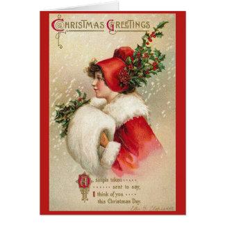 Christmas Girl Vintage Greeting Card
