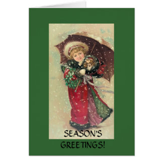 Christmas Girl with Cavalier Puppy Card