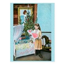 Christmas girl with doll postcard