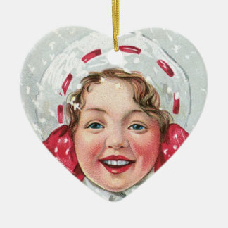 Christmas Girl with Package - heart Double-Sided Heart Ceramic Christmas Ornament