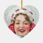 Christmas Girl with Package - heart Ornaments