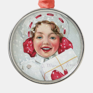 Christmas Girl with Package Round Metal Christmas Ornament