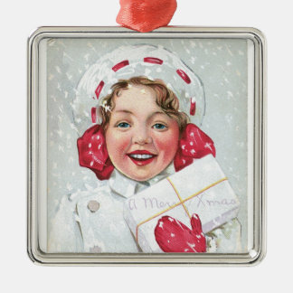 Christmas Girl with Package Square Metal Christmas Ornament