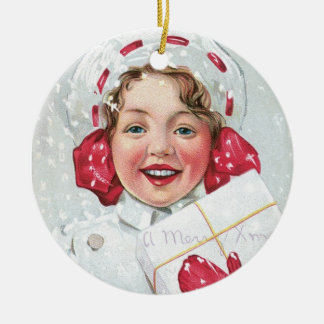 Christmas Girl with Package Double-Sided Ceramic Round Christmas Ornament