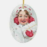 Christmas Girl with Package - oval Ornament