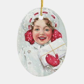 Christmas Girl with Package - oval Double-Sided Oval Ceramic Christmas Ornament