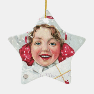 Christmas Girl with Package - star Double-Sided Star Ceramic Christmas Ornament