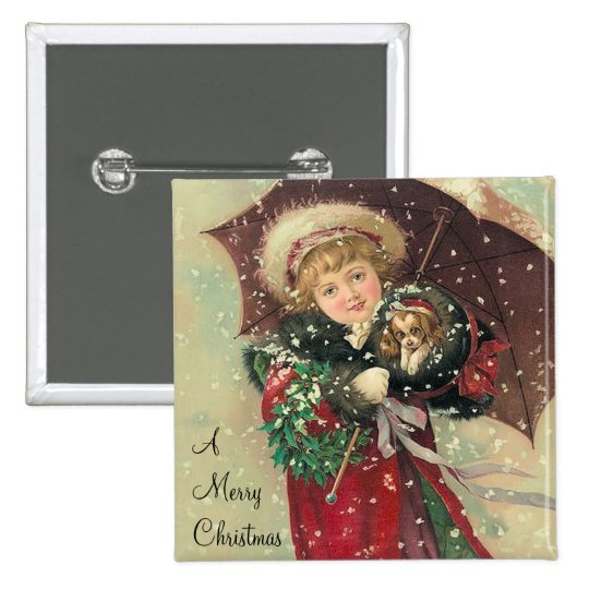 Christmas Girl with Puppy Pinback Button