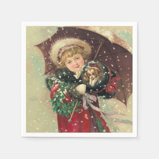 Christmas Girl with Puppy Paper Napkins