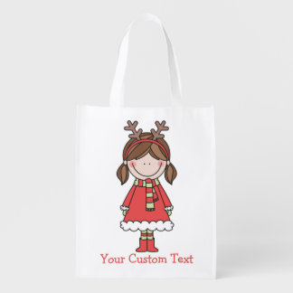 Christmas Girl with Reindeer Headband and Pigtails Reusable Grocery Bag