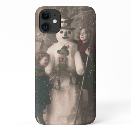 Christmas Girls and Snowman Vintage Photo iPhone 11 Case