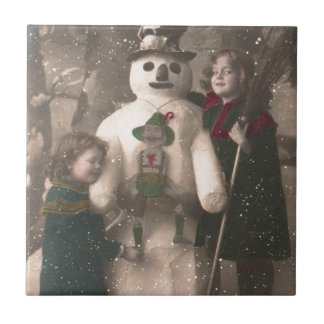 Christmas Girls and Snowman Vintage Photo Tile