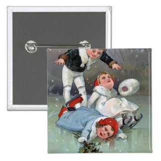 Christmas GladnessIce Skating Kids Collapse Pinback Buttons