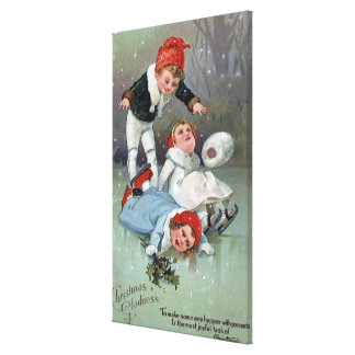 Christmas GladnessIce Skating Kids Collapse Canvas Print