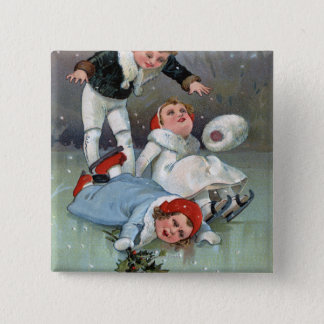 Christmas GladnessIce Skating Kids Collapse Pinback Button
