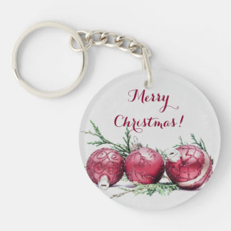 Christmas Glitter Ornaments Oil Painting Keychain