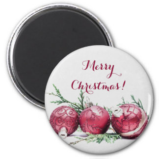 Christmas Glitter Ornaments Oil Painting Refrigerator Magnets