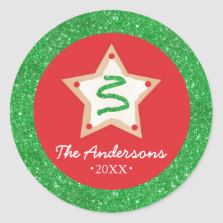 Christmas Glitter Sugar Cookie Classic Round Sticker