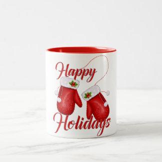 Christmas Gloves Happy Holidays Mug