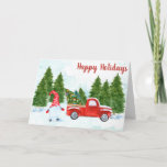 """Christmas Gnome Card<br><div class=""""desc"""">A gnome stands in front of his red truck with the Christmas trees he has cut down. Front of card reads: Happy Holidays Inside of card reads: Wishing you all the joy and happiness of the season.  You can easily customize all text with just a few clicks.</div>"""