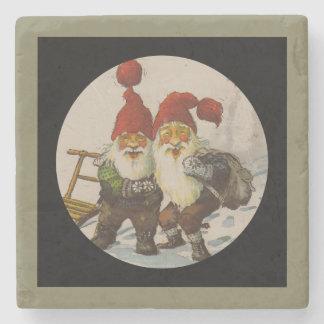 Christmas Gnome Friends Stone Coaster