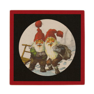 Christmas Gnome Friends Wood Coaster