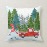 """Christmas Gnome Throw Pillow<br><div class=""""desc"""">A Christmas gnome is out picking Christmas trees with his red truck.</div>"""