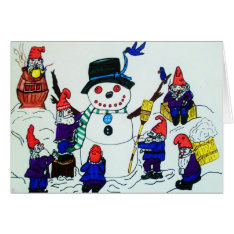 Christmas,gnomes Build A Snowman  Card at Zazzle