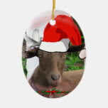 CHRISTMAS GOAT SANTA HAT ORNAMENT