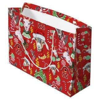 Christmas GOATS Candy and Jingle Bells GetYerGoat™ Large Gift Bag
