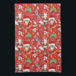 """Christmas GOATS Candy and Jingle Bells GetYerGoat™ Towel<br><div class=""""desc"""">Lots of Holiday Goats wearing caps and scarves and even a Santa hat , jingle bells , candy canes, Christmas candy, Christmas trees and a red barn all mixed up for a festive Goat Christmas kitchen towel this Christmas. Shown on a red background but you can easily change the background...</div>"""