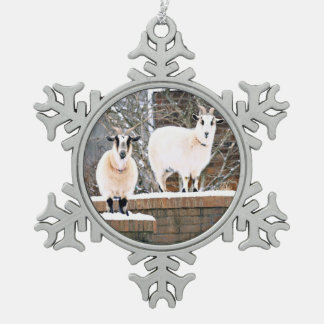 Christmas Goats Snowflake Pewter Christmas Ornament