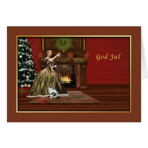 Christmas, God Jul, Swedish, Old Fashioned Greeting Card | Zazzle: www.zazzle.com/christmas_god_jul_swedish_old_fashioned_card...