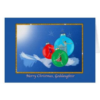Christmas, Goddaughter, Ballerinas Greeting Card