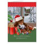 Christmas, Godparents, Cat, Teddy Bear Greeting Card