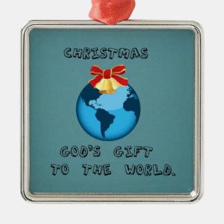 Christmas; God's Gift to the World. Metal Ornament