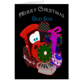 Christmas - GodSon - Train and Gifts Greeting Card
