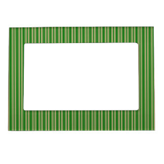 Christmas Gold and Christmas Green Stripes Magnetic Picture Frames