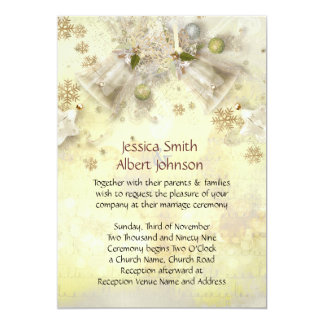Christmas Gold Bell Wedding Invite