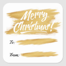 Christmas Gold Brush Stroke Gift Label