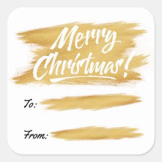 Christmas Gold Brush Stroke Gift Label