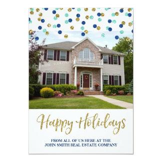 Christmas Gold Confetti Photo Card Real Estate
