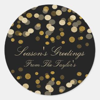 Christmas Gold Faux Glitter Festive Classic Round Sticker