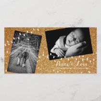 Christmas Gold Glam Glitter Peace Love Photo Card