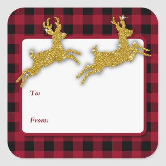 Christmas Gold Glitter Deer Square Stickers